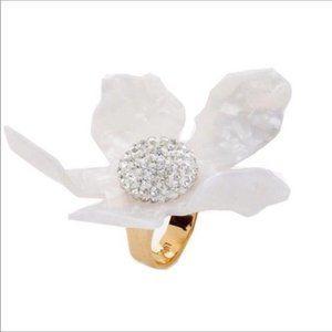 NWOT Anthro Lele Sadoughi Crystal Lily Ring size7